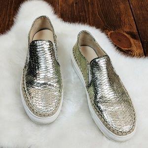 Zara Woman Gold Slip-On Sneakers